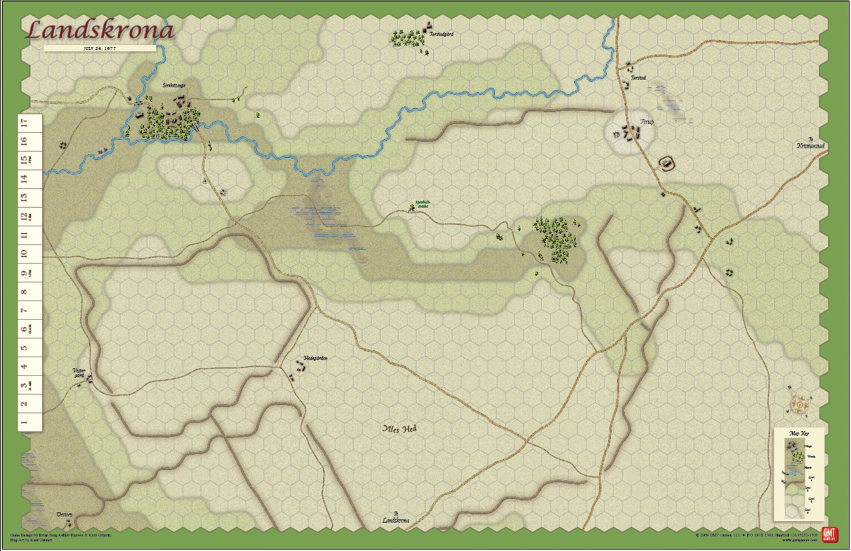 GMT Games Nothing Gained But Glory - Sweden map halmstad