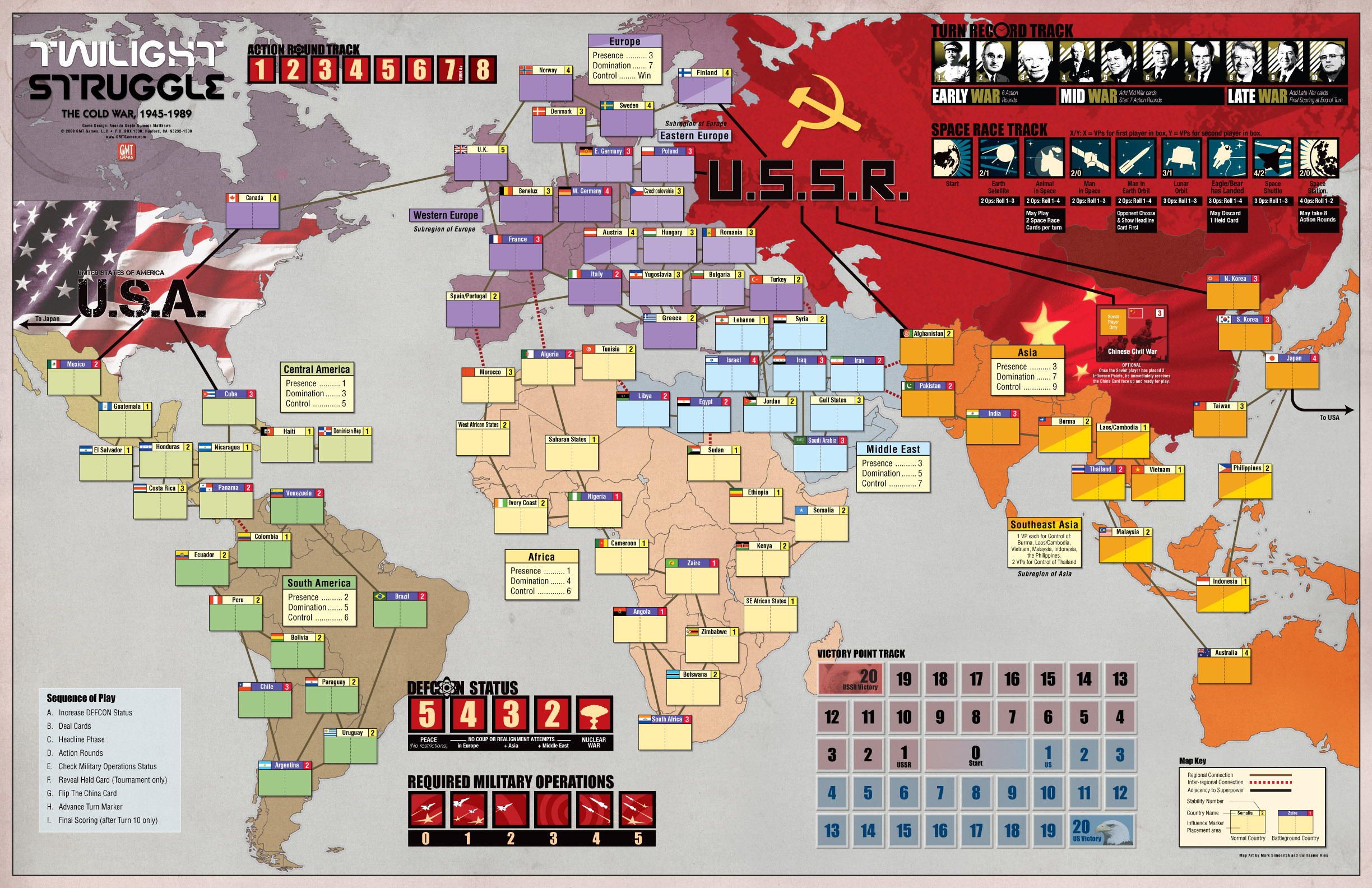Gmt games twilight struggle deluxe edition 2016 reprint 228 full color counters one deluxe 22x34 full color mounted map gumiabroncs Gallery